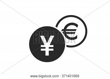 Japanese Yen To Euro Currency Exchange Icon. Money Exchange And Banking Transfer Symbol