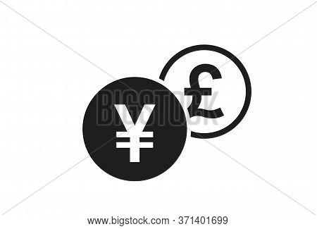 Japanese Yen To British Pound Currency Exchange Icon. Money Exchange And Banking Transfer Symbol