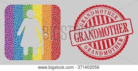Distress Grandmother Stamp And Mosaic Grandmother Subtracted For Lgbt. Dotted Rounded Rectangle Mosa