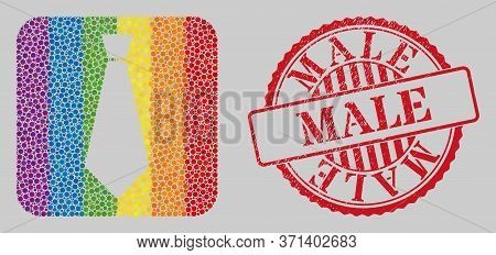 Distress Male Stamp Seal And Mosaic Male Tie Stencil For Lgbt. Dotted Rounded Rectangle Mosaic Is Ar