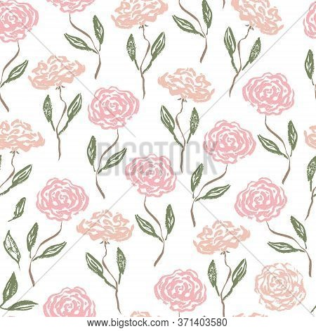 Tender Vintage Seamless Pattern With Scratched Pink And Coral Roses With Green Leaves. Romantic Retr