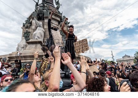 Barcelona, Spain - June 14, 2020: Demonstration Against The Murder Of George Floyd, Racism And Polic