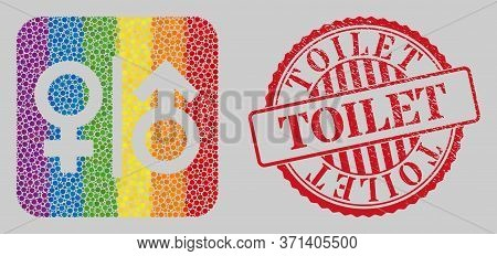 Distress Toilet Watermark And Mosaic Toilet Gender Symbol Stencil For Lgbt. Dotted Rounded Rectangle