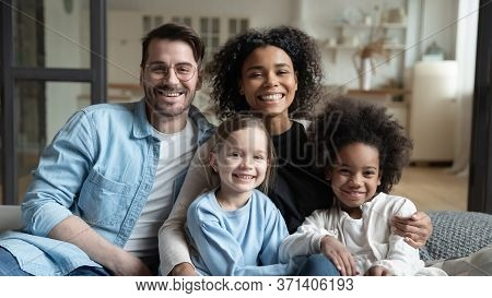 Beautiful Multi-ethnic Kids And Their Parents Family Portrait