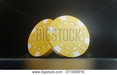 Casino Chips Isolated On Black Background. Casino Game 3d Chips. Online Casino Banner. Yellow Chip.