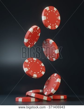 Casino Chips Falling On The Black Background. Casino Game 3d Chips. Online Casino Banner. Red Chip.