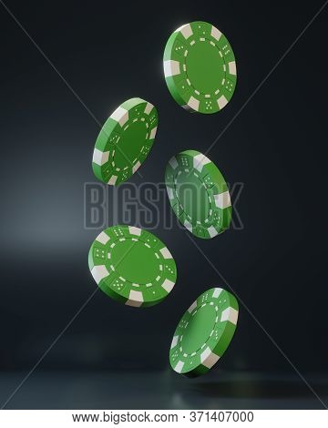 Casino Chips Falling On Black Background. Casino Game 3d Chips. Online Casino Banner. Green Chip. Ga