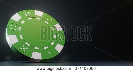 Casino Chips Isolated On The Black Background. Casino Game 3d Chips. Online Casino Banner. Green Chi