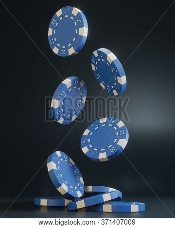 Casino Chips Falling On The Black Background. Casino Game 3d Chips. Online Casino Banner. Blue Chip.