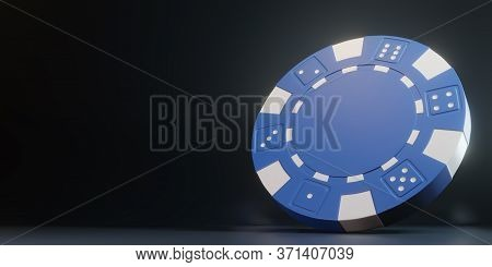 Casino Chips Isolated On The Black Background. Casino Game 3d Chips. Online Casino Banner. Blue Chip