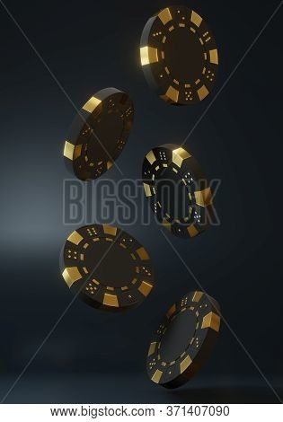 Casino Chips Falling On The Black Background. Casino Game 3d Chips. Online Casino Banner. Black Chip