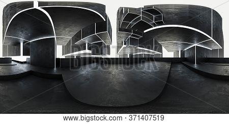 3d Illustration Spherical Full 360 Vr Degrees Hdr Style Panorama, Technology Concrete City 3d Render
