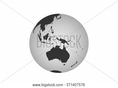 Australia Globe Icon. Earth Globe In View Of Australia Continent And South Asia. Vector World Map