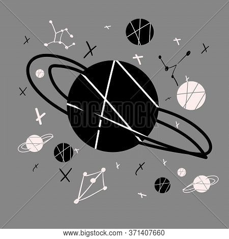 Stock Vector Illustration Of Hand Drawn Space Background With Planets And Stars. Space Banner, Poste