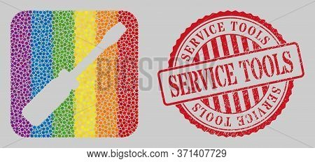 Scratched Service Tools Stamp Seal And Mosaic Screwdriver Tool Hole For Lgbt. Dotted Rounded Rectang
