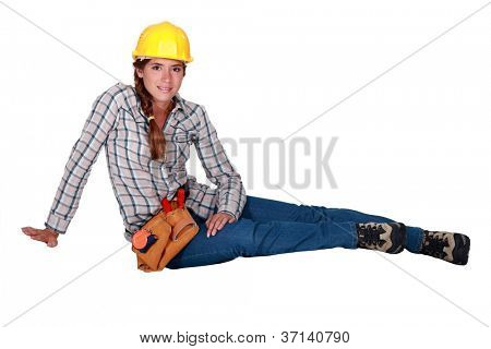 Portrait of a laid-back tradeswoman poster
