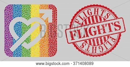 Grunge Flights Watermark And Mosaic Heart Penetration Arrow Subtracted For Lgbt. Dotted Rounded Rect