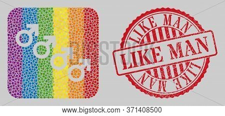Scratched Like Man Watermark And Mosaic Male Cohort Symbol Stencil For Lgbt. Dotted Rounded Rectangl
