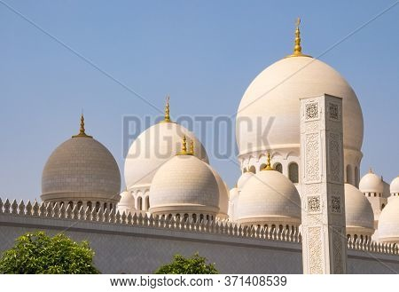 Gold-topped Domes Of Sheikh Zayed Grand Mosque In Abu Dhabi, Unite Arab Emirates