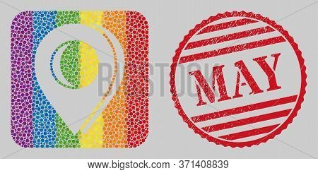 Scratched May Stamp Seal And Mosaic Map Marker Shadow Stencil For Lgbt. Dotted Rounded Rectangle Mos