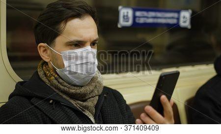 Man In Face Mask. Covid-19. Epidemic Coronavirus Mers. Corona Virus. Pandemic Flu. Subway Station. H
