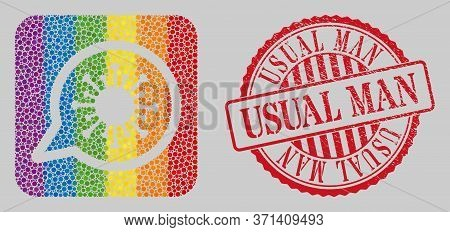 Distress Usual Man Stamp Seal And Mosaic Virus Message Hole For Lgbt. Dotted Rounded Rectangle Mosai