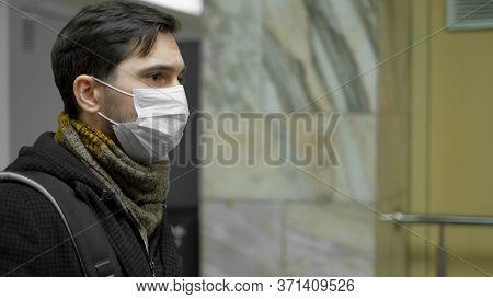 Infected Corona Virus. Man Ill. Face Masks Covid-19. Subway Station. Epidemic Coronavirus Mers. Pand