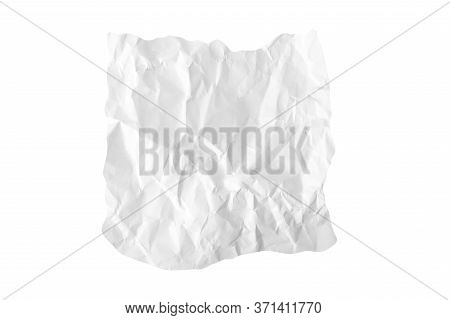 A Piece Of Crumpled Wrinkled White Office Paper Isolated On White, Texture Of Writing Paper With Wri