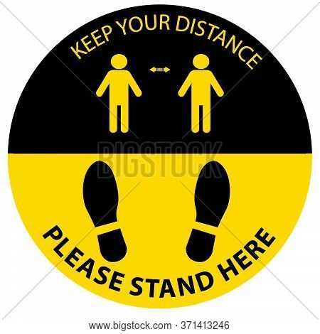 Stand Here Keep Distance, Social Distancing Pictograph,clip Art,sign