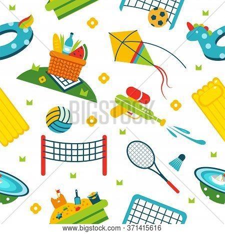 Summer Holiday Activity Symbols Pattern. Vector Illustration Pattern Of Vacation Summer Elements. El