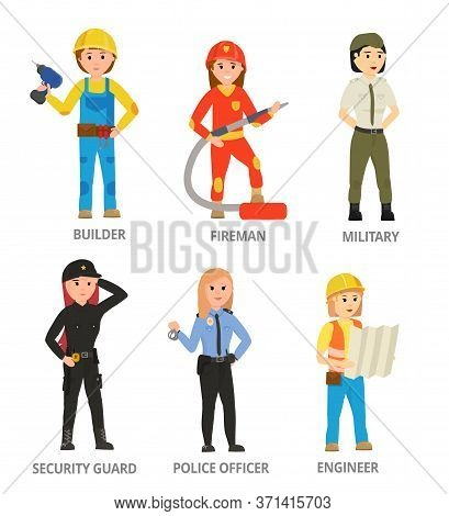 Women Hard Working In Non-traditional Man Roles, Profession: Police, Security, Firefighter, Military