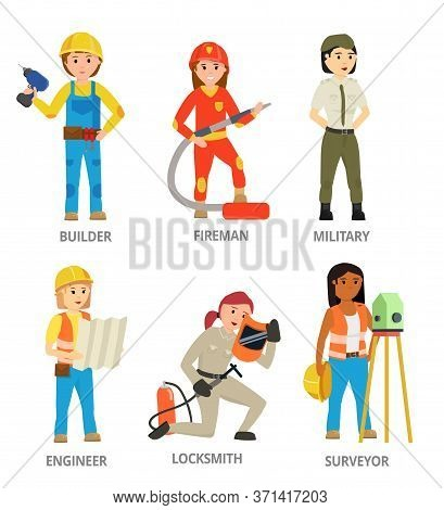 Women Hard Working In Non-traditional Man Roles, Profession: Builder, Firefighter, Military, Enginee