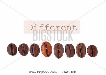 Coffee Beans Are Arranged In A Row. One Differs In Roasting And Color. The Concept Of Difference And