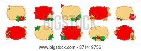 Christmas Label And Tag Flat Set. Cartoon Holiday Collection Red And Beige Christmas Patch Labels. C