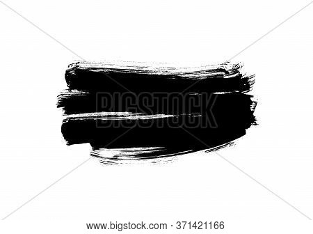 Black Paint Vector Brush Stroke Isolated On White Background. Vector Ink Illustration, Dry Dirty Sme