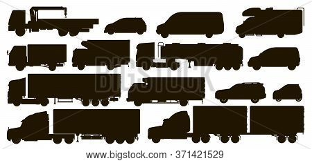 Delivery Transport Set. Cargo And Passenger Transport Silhouettes. Isolated Tanker Trailer, Crane Tr