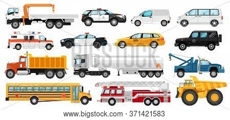 Service Car Set. City Public Special, Emergency Service Automobile Vehicles. Isolated Police, Ambula