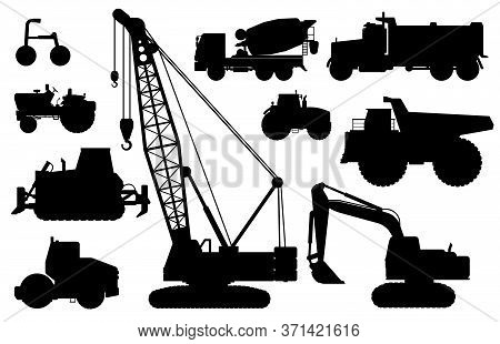 Construction Machines Silhouette. Heavy Machines For Building Work. Isolated Crane, Digger, Tractor,