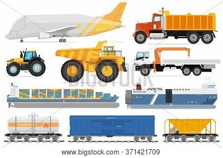 Freight Transportation Set. Cargo Shipping Vehicle Side View. Isolated Industrial Aircraft, Dump, Cr