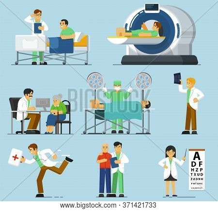 Medical Specialist Set. Isolated Therapist People, Physician Examining Patient, Surgeon Profession,