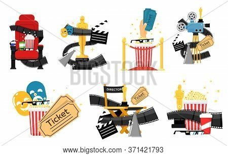 Movie Logo Set. Isolated Cinema Labels With Theater Chair, Popcorn, Filmstrip, Retro Video Camera, T