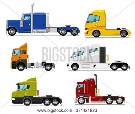 Semi Truck Set. Isolated Traction Unit Rig Or Prime Mover Transport For Semi-trailer Hauling. Side V