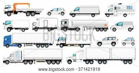 Vehicle Branding Mockup. Vector Transport Template For Branding. Isolated Blank White Side Tanker Tr