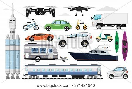 Transportation Vehicles Set. Different Transport Collection. Isolated Motor Automobile, Yacht, Train