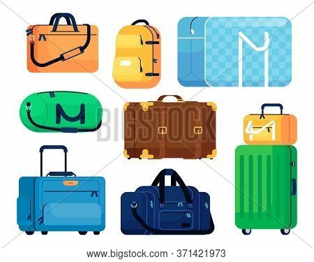 Luggage Vector Isolated. Plastic Suitcase, Travel Baggage, Family Case, Backpack. Cartoon Handle Lug