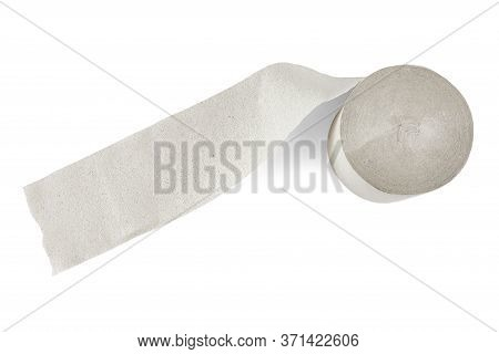 Unfolded Roll Of Toilet Paper Isolated On White Background.