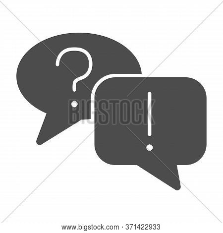 Question And Answer Bubbles Solid Icon, Business Communication Concept, Question Mark And Exclamatio