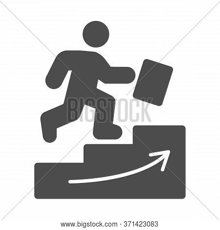 Man Climbs Up The Stairs Solid Icon, Business Strategy Concept, Businessman With Suitcase Climbing S