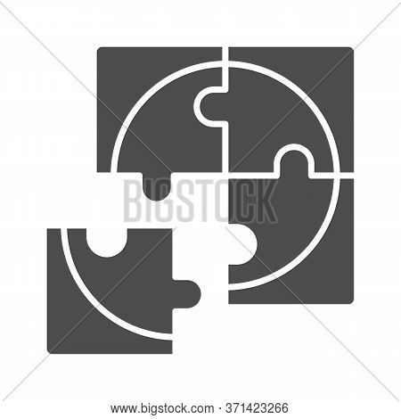 Four Puzzle Pieces Solid Icon, Business Solution Concept, Jigsaw Puzzles Sign On White Background, F
