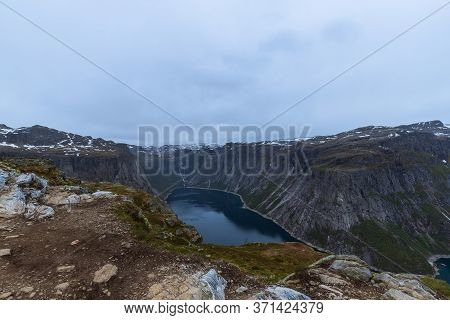 Lake Ringedalsvatnet Near The Trail To Trolltunga In Norway.